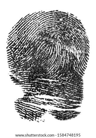 Black ink fingerprint isolated on a white background. Police fingerprints. #1584748195