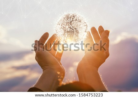 The concept of the development of the global network. Hands supporting a world globe on background of the sun. #1584753223