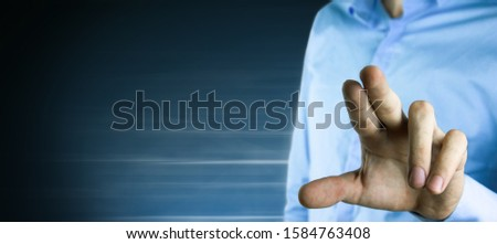 business man presses on touch screen #1584763408