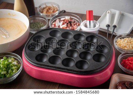 ingredients and pan for home style takoyaki #1584845680