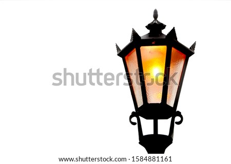 Old street light isolated white background Royalty-Free Stock Photo #1584881161