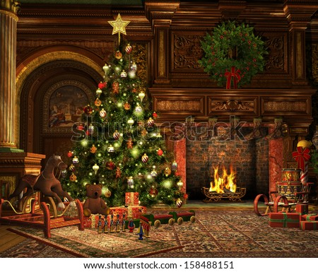 3d computer graphics of a living room on Christmas Eve