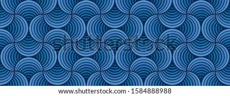 Seamless Classic Blue Striped Petals Deep Blue Background Vector Pattern Royalty-Free Stock Photo #1584888988