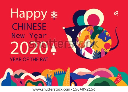 Happy New Year 2020 vector logo design. Happy new year with cute mouse rat in folk style. Chinese New Year. Cover of design for 2020. Calendar design, brochure, catalog, card, banner, wallpaper. #1584892156
