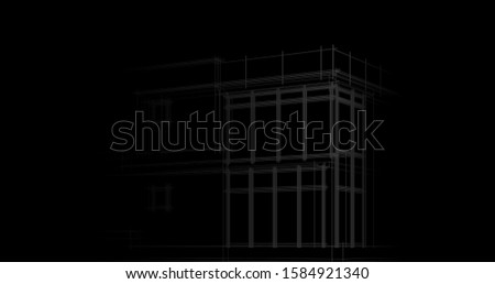 House building architecture concept sketch 3d illustration #1584921340