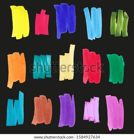 Marker swatches - yellow, violet, light blue, blue, red, green, brown, pink. Marker strokes for your design. Colour Element. #1584927634