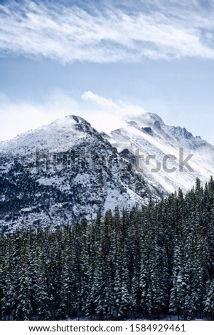 snow covered mountains surrounded by pine trees in the winter. The rocky mountains in Estes Park, CO, USA #1584929461