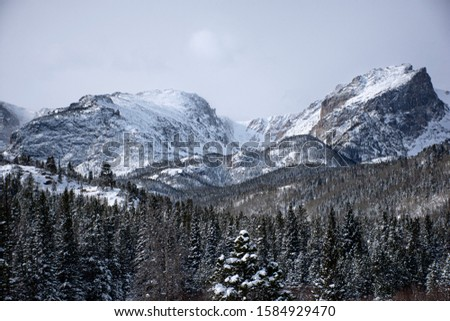 snow covered mountains surrounded by pine trees in the winter. The rocky mountains in Estes Park, CO, USA #1584929470