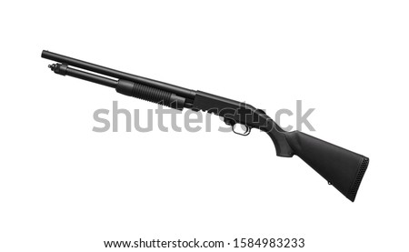 Modern black shotgun isolate on white background.Modern weapons for self-defense, sports and recreation. Shotgun for military and police. #1584983233