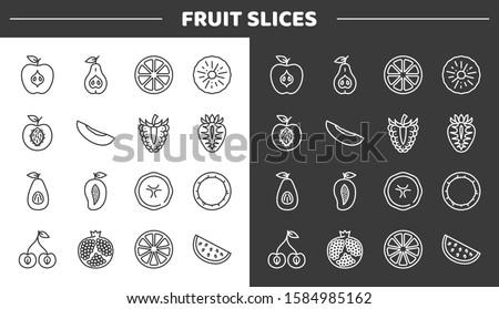 Fruit slices line icons set. Includes such Icons as Apple, Pear, Lemon, Pineapple, Peach, Melon, Raspberries, Strawberry, Avocado, Mango, Banana, Coconut, Cherry, Garnet, Orange, Watermelon #1584985162