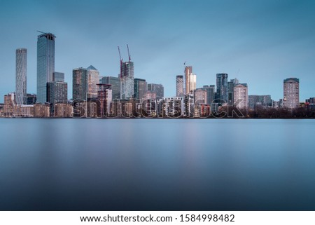 Skyline of Canary Wharf District, the Financial District in London, With New Skyscrapers Rising #1584998482