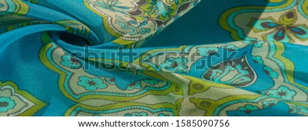 texture, background, multicolored silk fabric with a pattern of patterns on a turquoise background, #1585090756