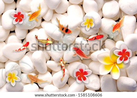 A chines creative designation with nine fishes and white stone for wall, bottom, floor, or TV background decoration. 3D rendering