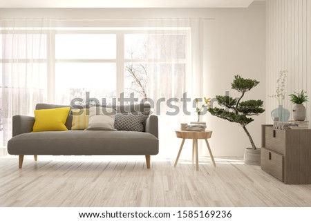 Stylish room in white color with sofa and winter landscape in window. Scandinavian interior design. 3D illustration #1585169236