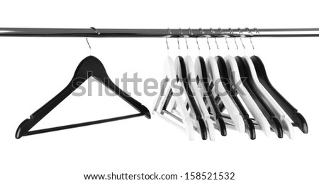 Black and white clothes hangers isolated on white #158521532