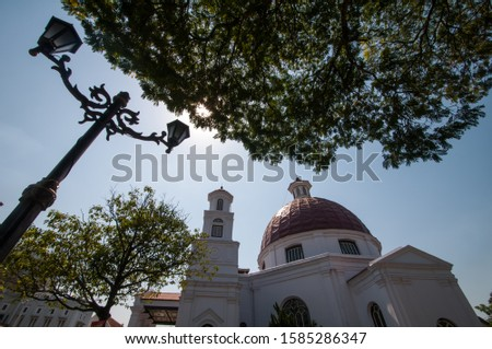 Historical Blendug Church or Immanuel Church in Kota Lama, Semarang, Indonesia. Dutch colonial old building in Indonesia. #1585286347