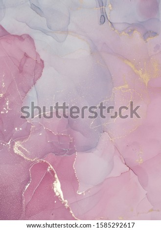 Alcohol ink colors translucent. Abstract multicolored marble texture background. Design wrapping paper, wallpaper. Mixing acrylic paints. Modern fluid art.  #1585292617