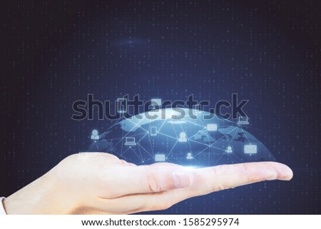 Hand holding glowing social network infograph. Business and communication concept. #1585295974