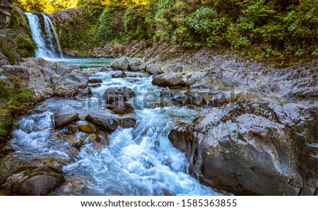 Deep forest river wild waterfall view. Forest river wild landscape. Wild river stream rocks flowing. Forest river rocks view #1585363855