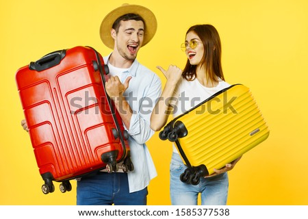 Cheerful men woman with suitcases in hands travel vacation vacation #1585377538