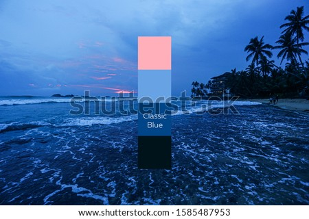 beautiful view of the ocean. dusk. color of the year 2020 classic blue pantone