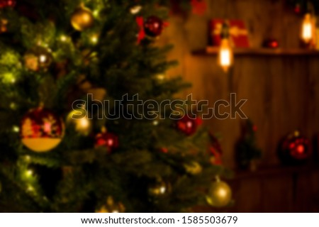 Christmas home room with tree and festive bokeh lighting, blurred holiday background. Template #1585503679