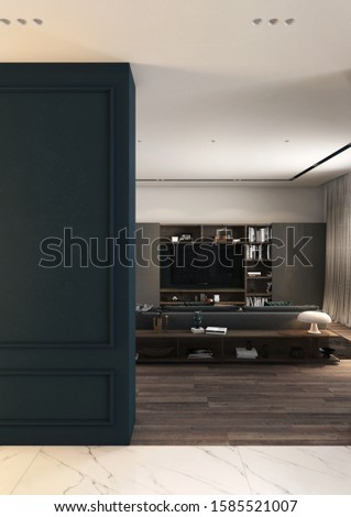 Interior with classic wall, modern living room front view, 3d image #1585521007
