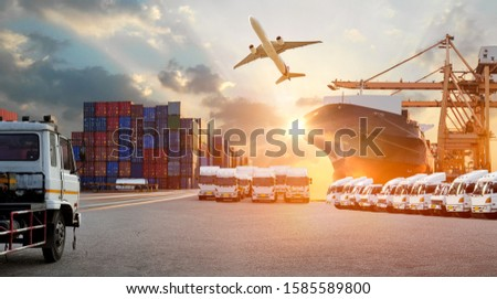 Logistics import export background and transport industry of Container Cargo freight ship and Cargo plane background, Truck transport container on the road to the port #1585589800
