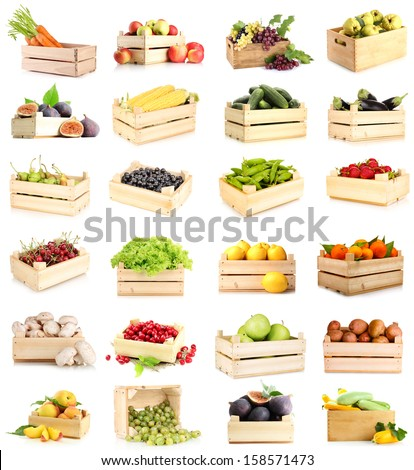 Collage of fruits and vegetables in wooden boxes isolated on white #158571473
