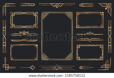Golden art deco ornaments. Arabic antique decorative gold border, retro geometric ornamental frame and ornate golden corners. Geometry deco label, old victorian decoration. Isolated vector symbols set #1585758112