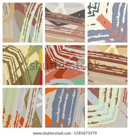 Abstract collage asymmetric pattern. Brush strokes grunge texture. Vector colorful ornament, patchwork quilt style. Digital freehand art backgrounds set for flyer, poster, cover, textile fabric print #1585875979