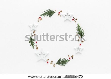 Christmas composition.Gift star bauble top view background with copy space for your text. Flat lay. #1585886470