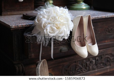 bridal flower and bridal shoes #1585906873