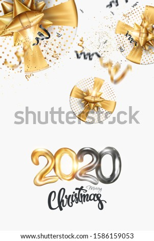 Merry Christmas gold Creative design on a white background. Black-gold design. Brochure design template, card, banner. 3D illustration, 3D Render #1586159053
