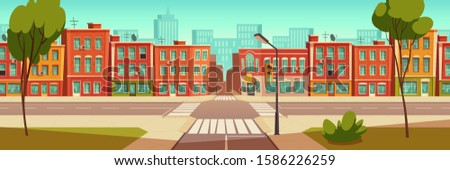 Urban street landscape with crossroad and traffic light, buildings with small shops, cafes and restaurants cartoon vector background, town poster with empty street space Royalty-Free Stock Photo #1586226259
