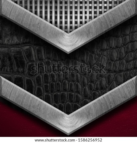 Texture metal and leather material template abstract background.Copy space for your text, menu cover, menu cover #1586256952