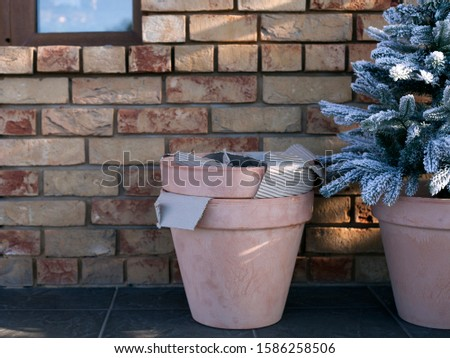 New Year and Christmas decor near the house. Christmas tree in a clay pot on against a brick wall. The concept of designing a cafe, home, street. interesting ideas #1586258506