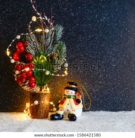 Christmas decorations on a dark background. Christmas rat Symbol of the new year 2020. Christmas card. Chinese New Year 2020. Christmas toys, bokeh. Happy New Year. New Year concept. Rat on the backgr