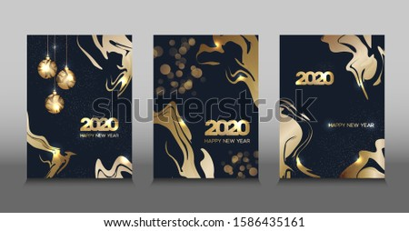Design of golden New year 2020 banners. For design presentations, print, flyer, business cards, invitations, calendars, sites, packaging and covers #1586435161
