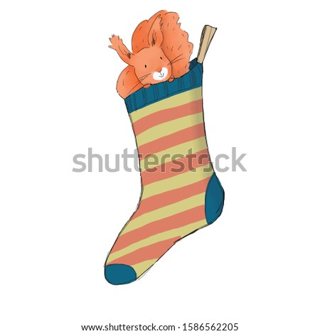 Squirrel in a sock 2020 New Year Christmas illustration. New Year card. Invitation. High resolution 300 dpi