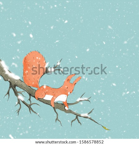 Christmas squirrel on a branch. 2020 New Year Christmas illustration. New Year card. Invitation. High resolution 300 dpi