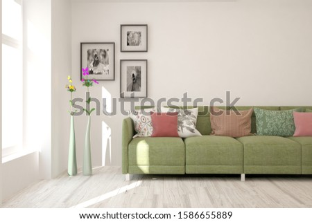 Stylish room in white color with sofa. Scandinavian interior design. 3D illustration #1586655889
