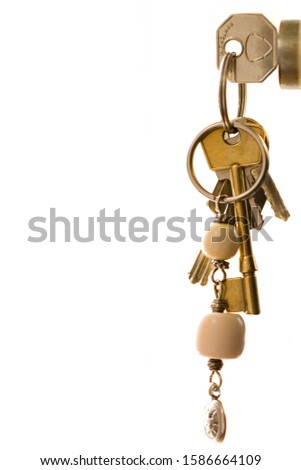 Keys on keying in lock, close-up, side view, cut out #1586664109