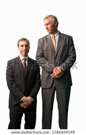 Businessmen posing, tall, small, cut out Royalty-Free Stock Photo #1586664148
