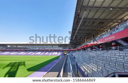 Vienna, Austria - September 2018: view inside Generali Arena - the official playground of FC Austria #1586666869