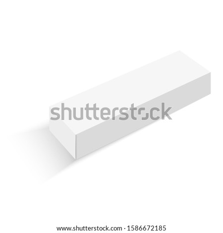 3D illustration of long white packaging for mockup isolated in white background. #1586672185