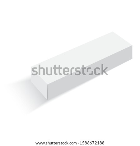 3D illustration of long white packaging for mockup isolated in white background. #1586672188