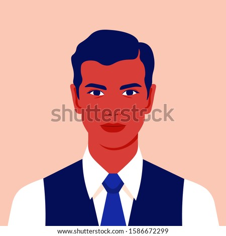 Portrait of a businessman. Avatar of a young man for social network. Colorful portrait. Manager. Vector flat illustration