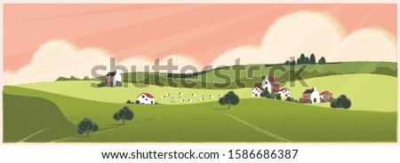 Wild panoramic rural countryside in spring or summer.Green hill with bush and tree. Concept of Europe farm agriculture with sheep in spring or summer. Royalty-Free Stock Photo #1586686387
