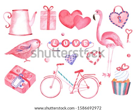 Valentine's Day Clip art cute set with flamingo, heart, giftbox . Isolated elements on a white background. Hand painted watercolor stock illustration. Perfect for invitations cards, decoration.